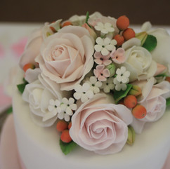 Pink and white sugar roses