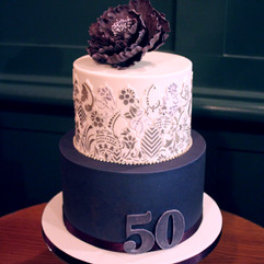 2 tier birthday cake with sugar peony and moroccan tiles