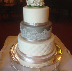 3 tier wedding cake with quilted effect, edible lace and sugar hydrangeas