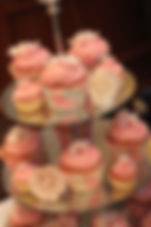 Fondant flower pink and white cupcake tower