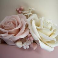 Ivory and pink sugar roses