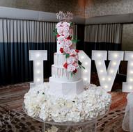 Burgundy marble wedding cake