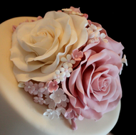 Pink and ivory rose topper
