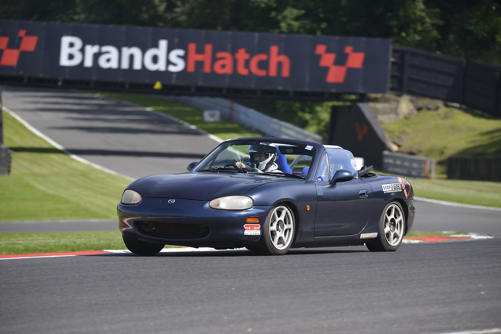 RGT Customer Laure enjoying our MX5 track day hire car at Brands Hatch GP circuit