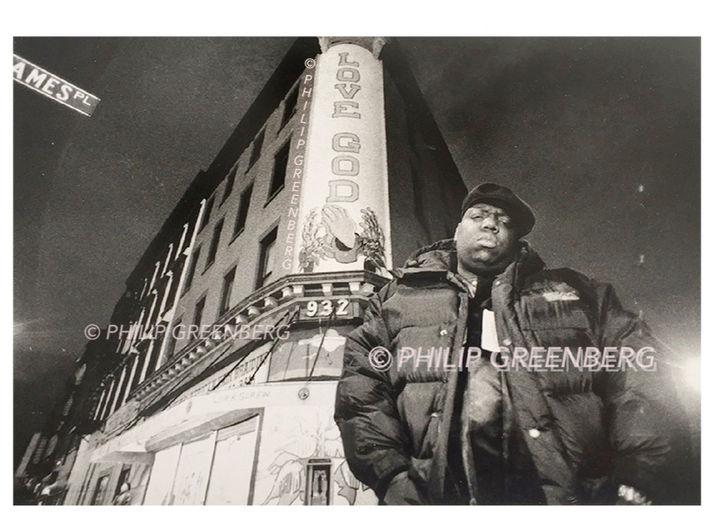 Biggie on his street in Brooklyn