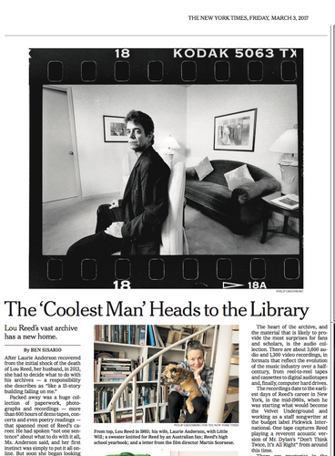 Portrait of Lou Reed for The NYTimes