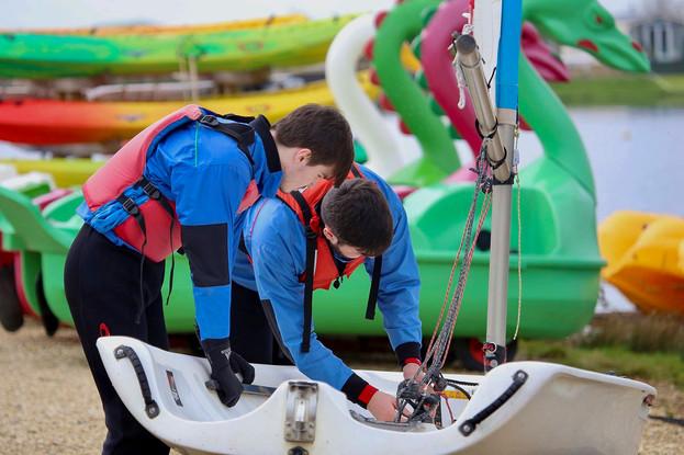 Two Hartpury College students preparing to set sail