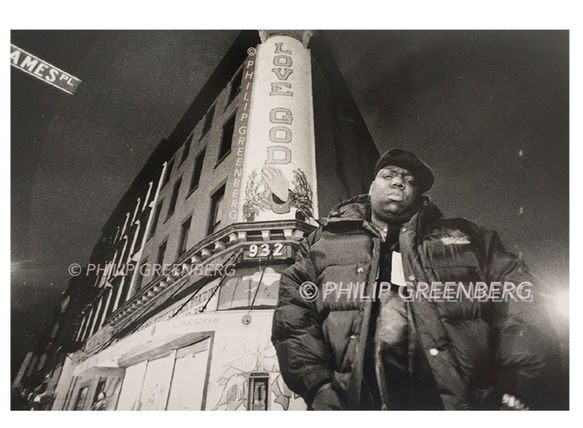 Biggie on his street in Brooklyn