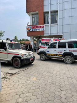 Recent view of ambulances lined up outside of Chitwan Medical College Teaching Hospital. Picture pro