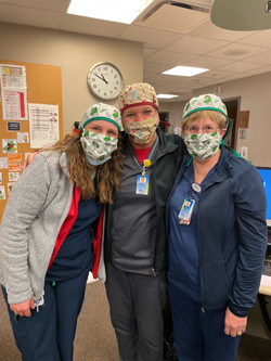 Frontline Heroes from Ida Grove, IA in caps and masks from Sewist Cindy in PA