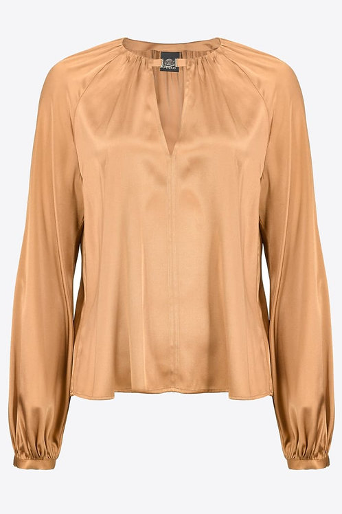 Long-Sleeved Stretch Satin  Blouse