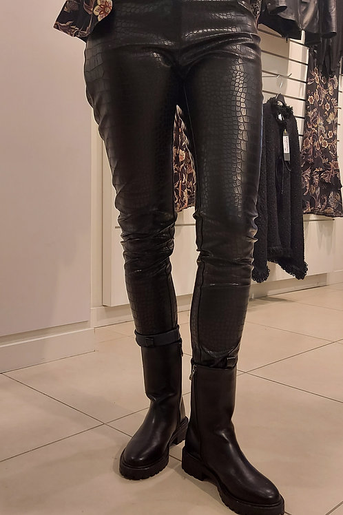 Leather look pantalon Pyton print