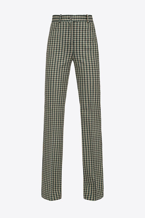 PINKO LOGO-PATTERNED FLARED TROUSERS