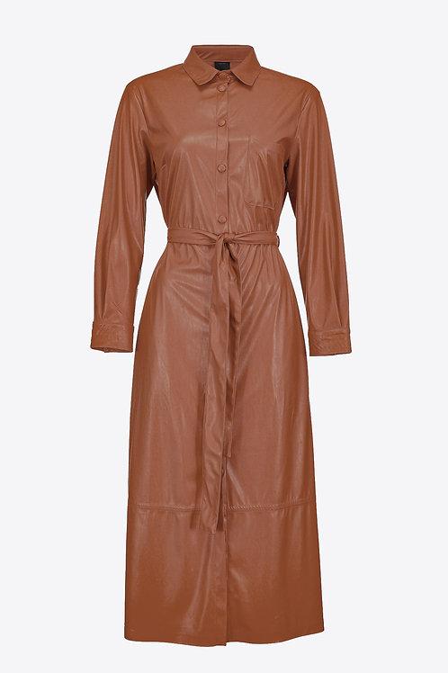 Leather - Look Shirt Dress