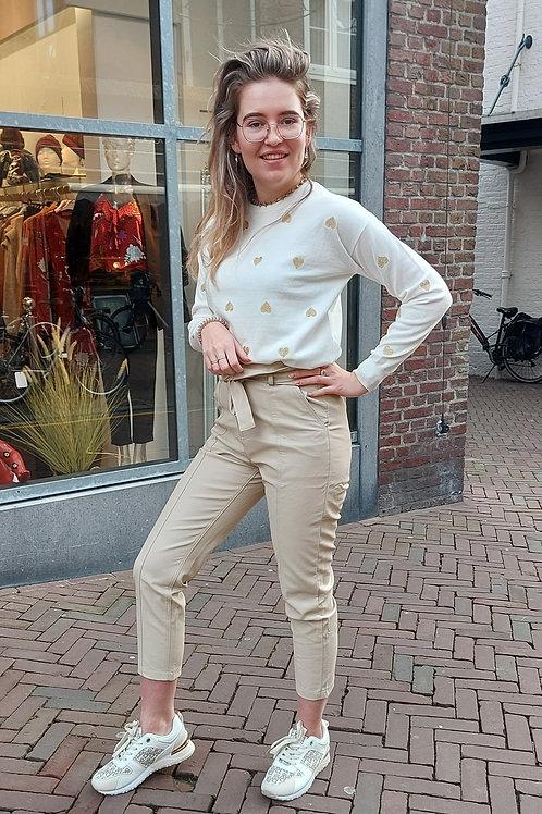 Leather look pantalon Beige
