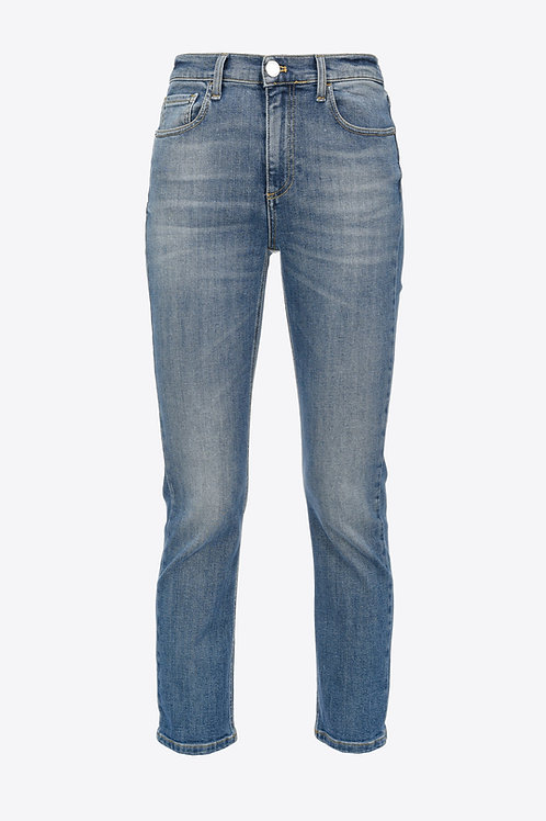 Straight - Cut jeans with love Birds on the back.
