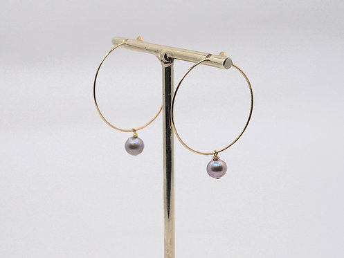 Floating Pearls Collection_ Hoop earrings with pendant pearl