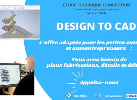 Design To Cad : Offre pour les petites entreprises et auto entrepreneurs