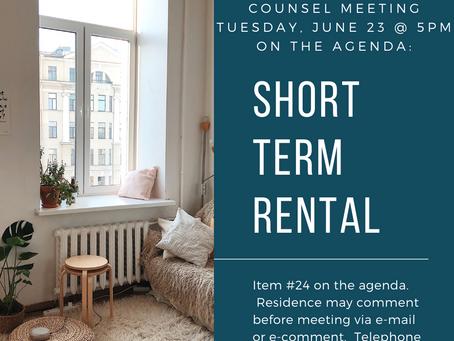 Council Vote 6/23/20: Short Term Rental Ordinance