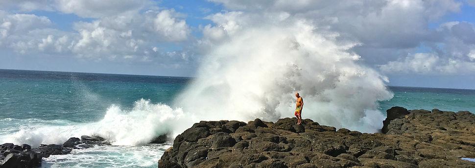 Wayne Kealohi Powell on Kauai beach during Lomi Lomi training retreat