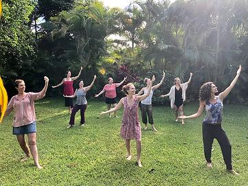 Students in Kauai Temple Style Kahuna Bodywork training practicing the Ka Lele