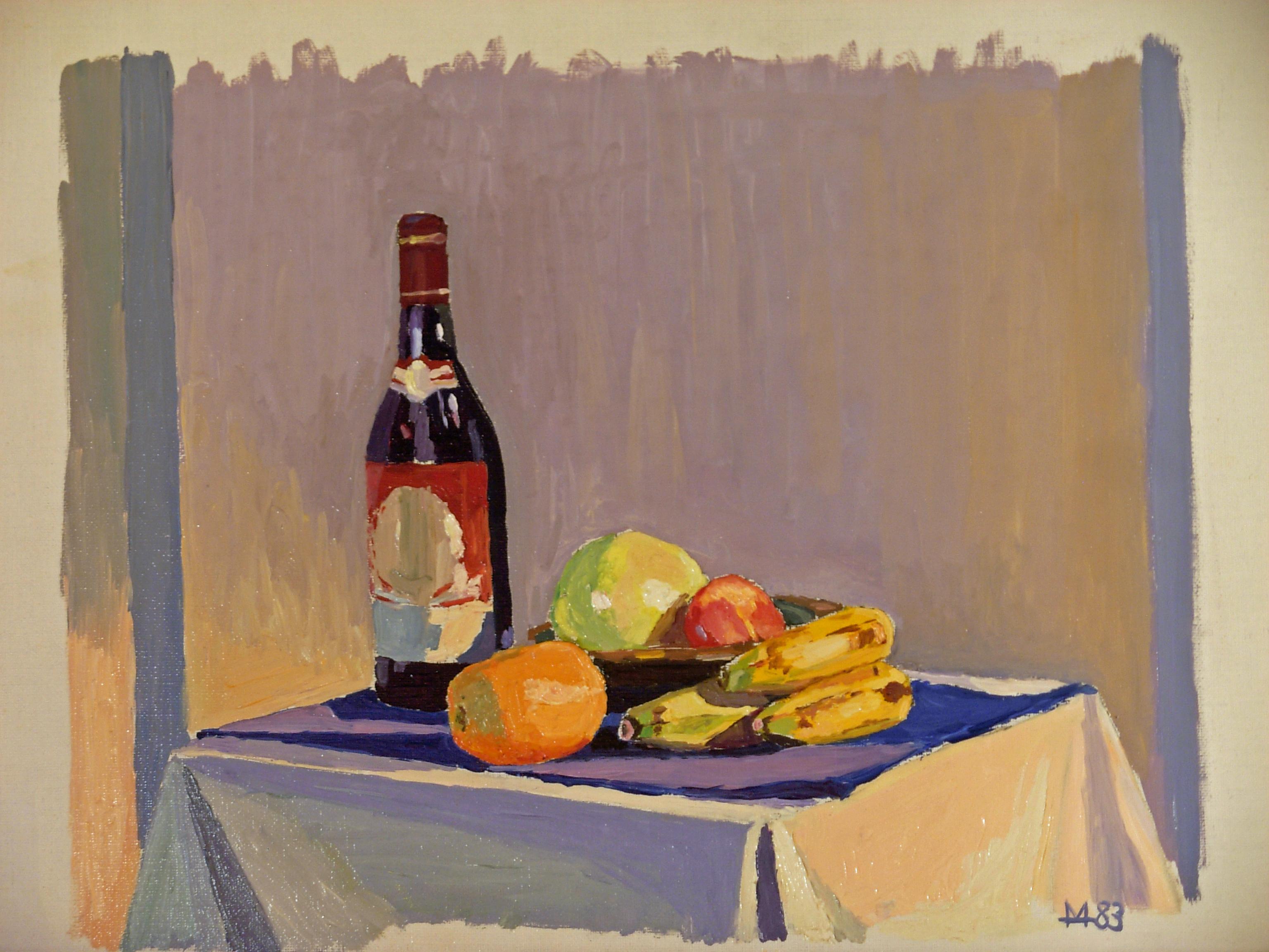 Stillleben mit Weinflasche und Bananen.jpg