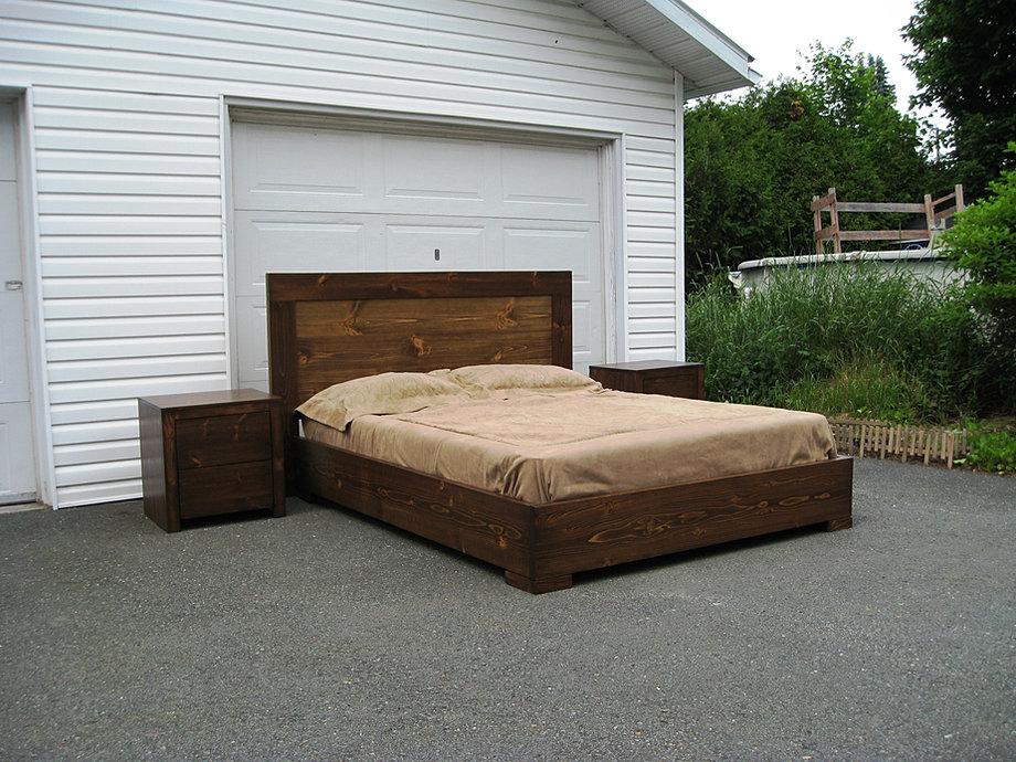 base de lit en bois l 4. Black Bedroom Furniture Sets. Home Design Ideas