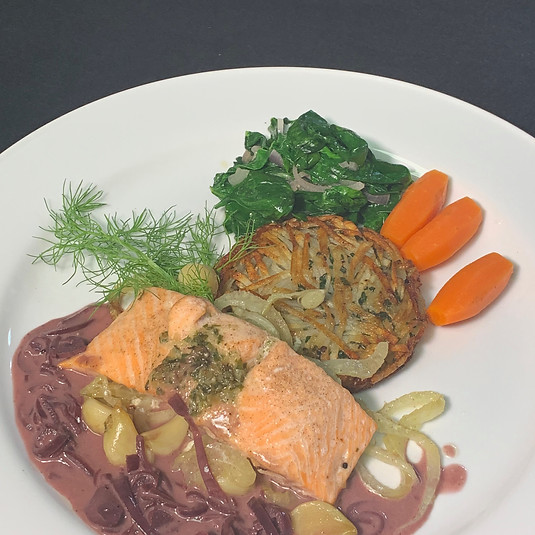 Salmon & Red Butter Sauce