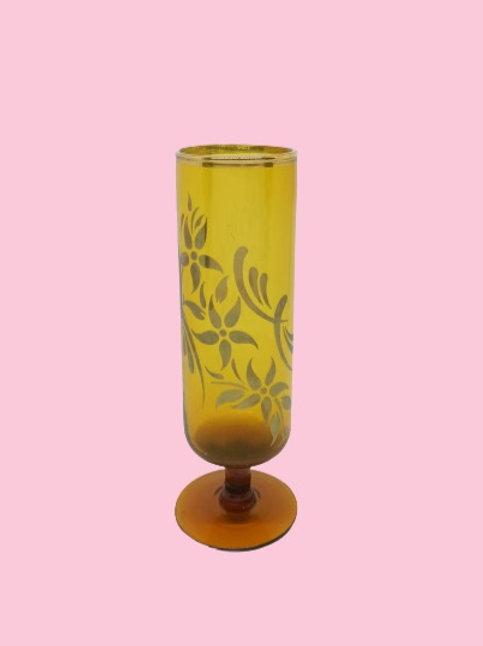 """Copa de cristal esmaltada en dorado """"Leonor"""" 1950's"""