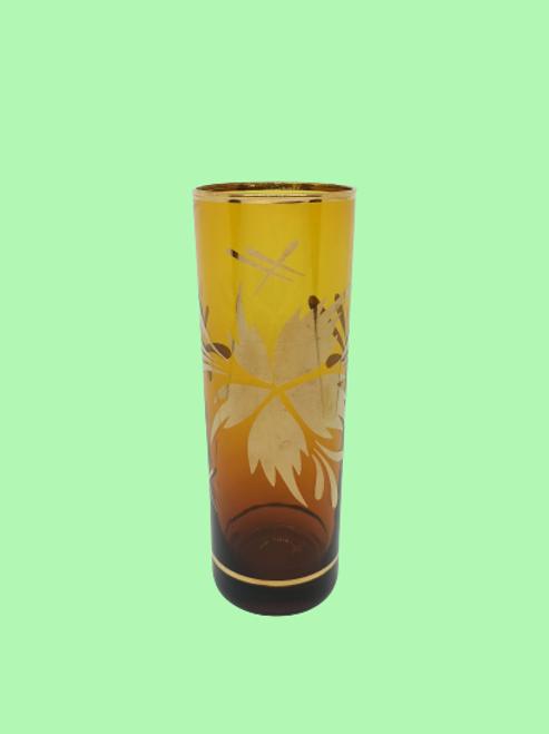 """Vaso de tubo de cristal esmaltado en dorado """"Leonor"""" 1950's"""