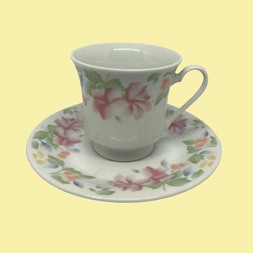 """Taza grande + plato porcelana china """"Sara"""" 1980's"""