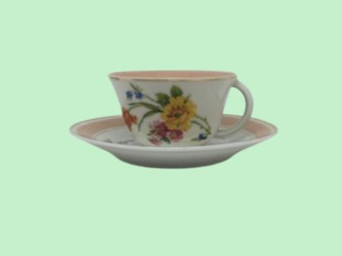 """Taza Mediana + Plato porcelana """"Blanca de Castilla"""" 1930's"""