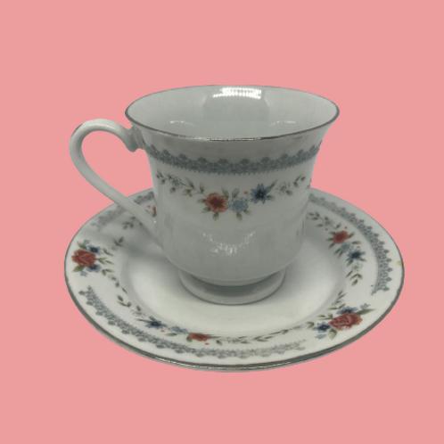 """Taza grande + plato porcelana china """"Sara"""" 1960's"""