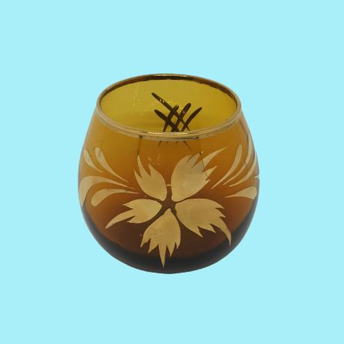 """Vaso pequeños de cristal esmaltado en dorado """"Leonor"""" 1950's"""