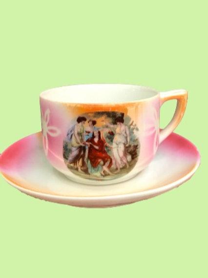 """Taza Mediana + Plato porcelana """"Fifi"""", """"Santa Clara"""" 1950's"""