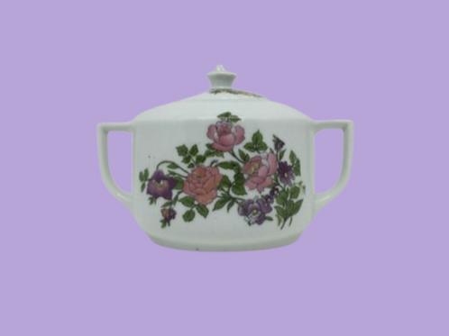 """Azucarero de porcelana checoslovaca (Victoria) """"Bárbara"""" 1920's"""