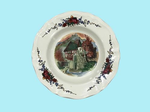 """Plato hondo de cerámica Obernai Sarreguimes """"Mariana"""" 1960's"""