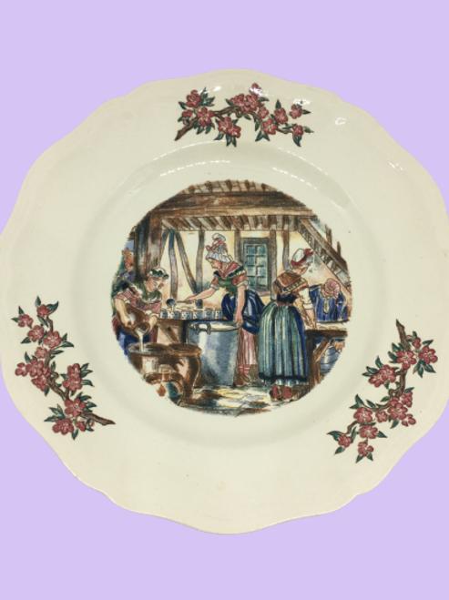 """Fuente / Plato hondo grande (o plato de servir) de porcelana""""Luz"""" 1950's"""