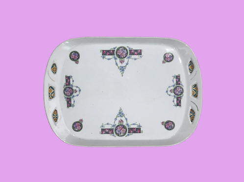 "Bandeja grande de porcelana ""Margarita de Provenza"" 1870's"