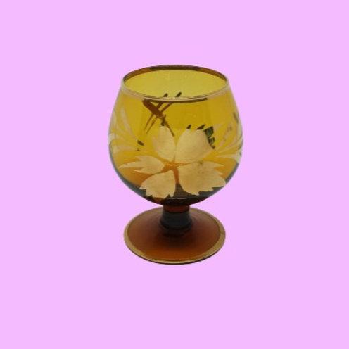 """Copa de licor de cristal esmaltada en dorado """"Leonor"""" 1950's"""