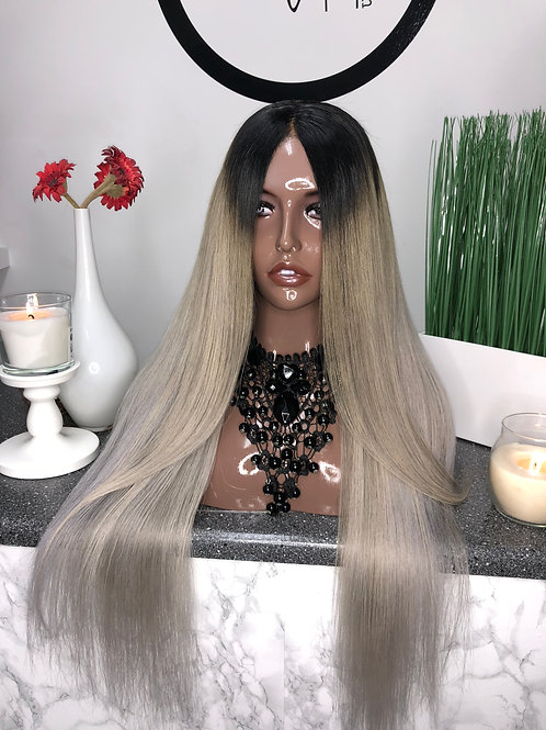 Custom Lace front sliver straight wig