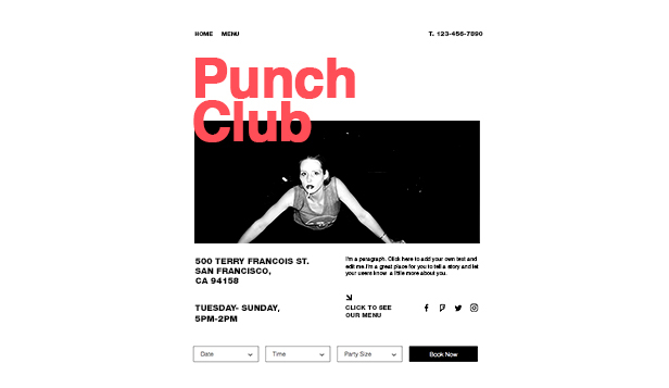 Bares e Clubes website templates – Landing page de bar