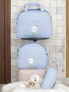 Conjunto de Bolsas maternidade com porta mamadeira Capricho bagum   1025C Azul