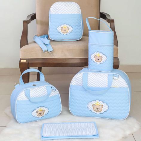 Kit Maternidade Zig Zag com 5 peças   101K5 Azul