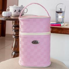 Porta mamadeira duplo Xadrez | 101PM Rosa
