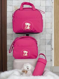 Conjunto de Bolsas maternidade com porta mamadeira Capricho bagum   1025C Pink