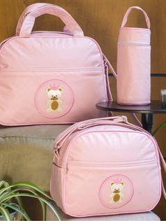 Conjunto de Bolsas maternidade com porta mamadeira Capricho   1024C Rosa