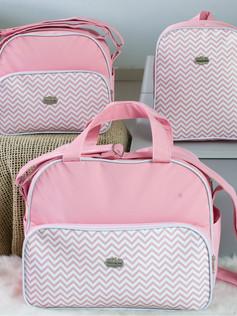 Conjunto de Bolsas maternidade com mochila   1028C Rosa