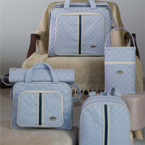 Kit Maternidade Xadrez com 5 peças   102K5 Azul