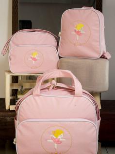 Conjunto de Bolsas maternidade com mochila Sapequinha   1026C Rosa